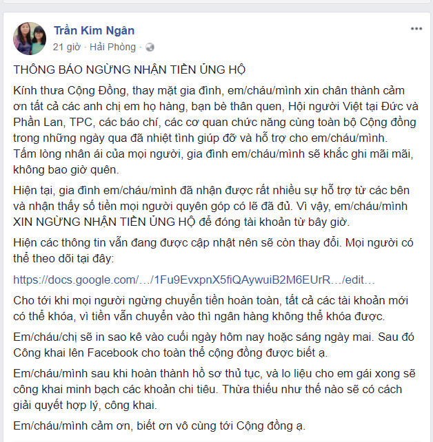 Gia dinh nu du hoc sinh tu vong tai Duc dung nhan tien ung ho hinh anh 1