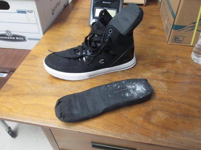 A Mexican woman was stopped at a border crossing in Texas and found to have cocaine in the soles of her shoes.